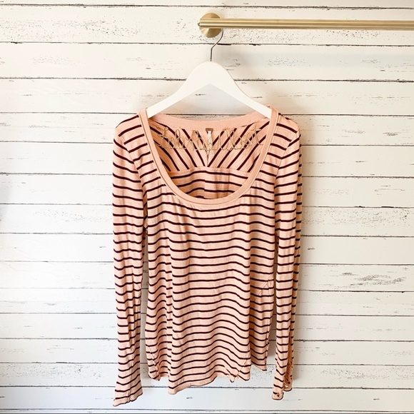 Free People Tops - Free People Hard Candy Crochet Cuff Striped Henley